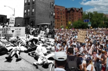 Left photo from 1992 ACT UP Queer Nation Die In (credit Genyphyr Novak). Photo on right of Black Trans Lives Matter Protest in Brooklyn NY 2020 (photo credit Ian Reid).